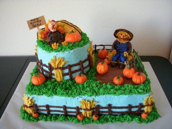 Fall Harvest Birthday Cake Cakes and Cupcakes Pinterest