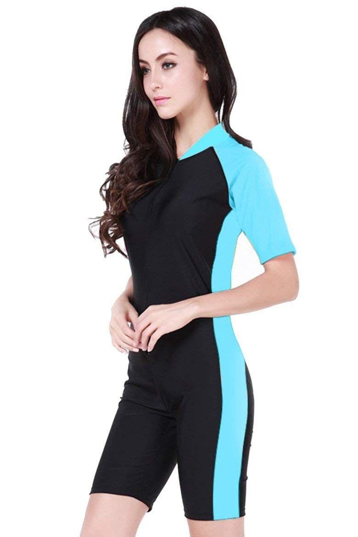 Short Sleeve One Piece Swimwear Swimsuit - Light Blue-women - C111XAY6UDZ - Sports & Fitness Clothin...