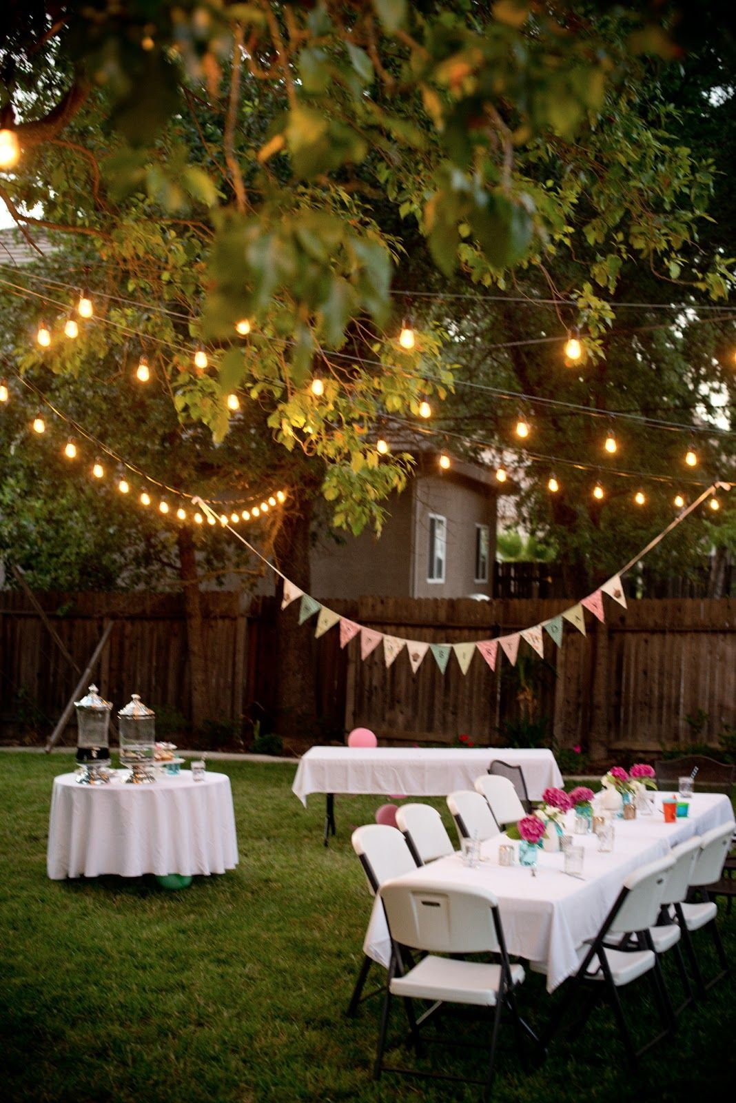 Backyard birthday fun pink hydrangeas polka dot napkins for How to decorate a backyard