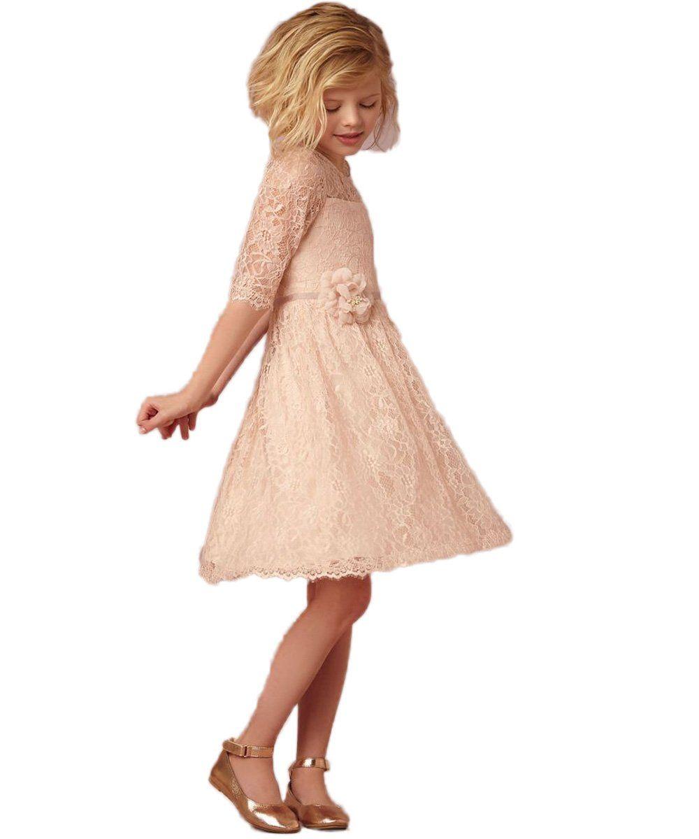 Amazon.com: CustomDress 1/2 Sleeve Gossamer Lace Sweet Kids Girls Party Wedding Dresses: Clothing