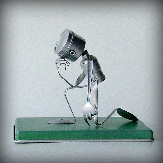 Tebowing - robot recycled art sculpture - kitchen robot