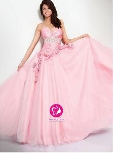 Mode de bal Col en cœur Longueur ras du sol Robe de soirée en Tulle avec Perle Fleurs manuelles(FR0250337)
