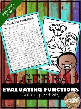 Evaluating Functions Coloring Activity Color Activities Algebra Activities High School Math Activities