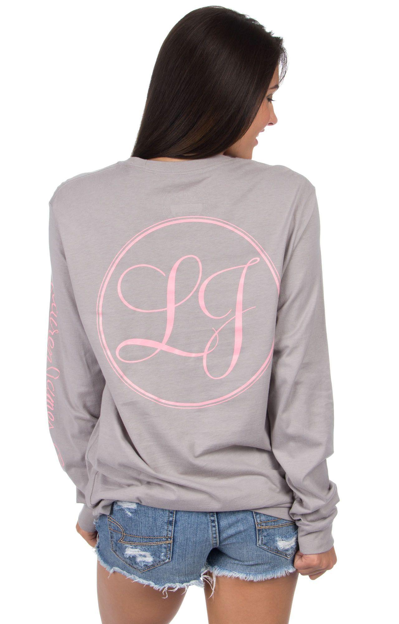 Lauren james signature print long sleeve tee in grey with