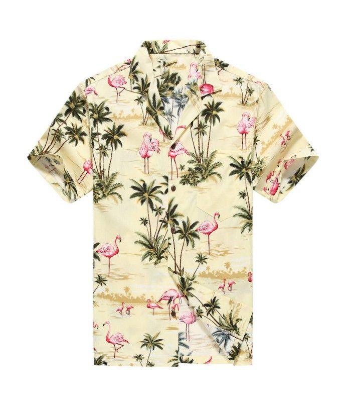 4fa3d562 Made in Hawaii Men's Hawaiian Shirt Aloha Shirt Pink Flamingos Allover in  Yellow