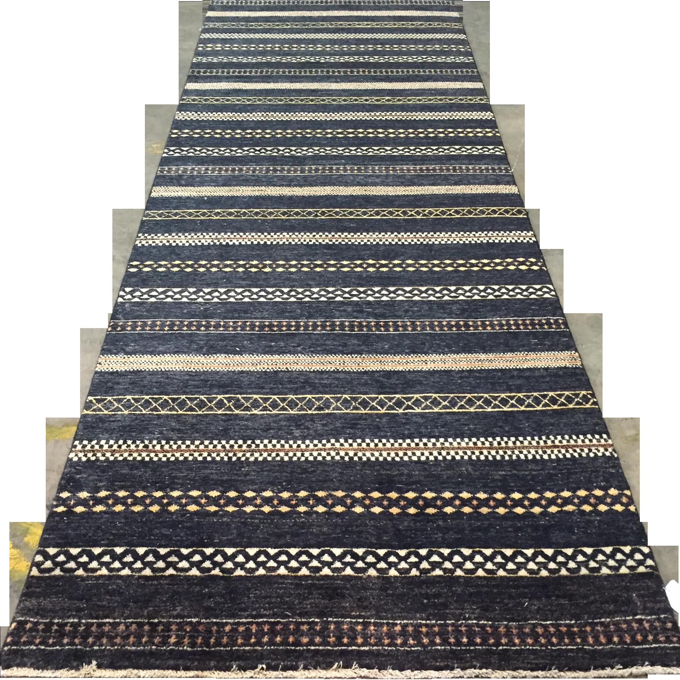 Black Paki Gabbeh Rug, Hand Knotted In Pakistan. 100% Wool