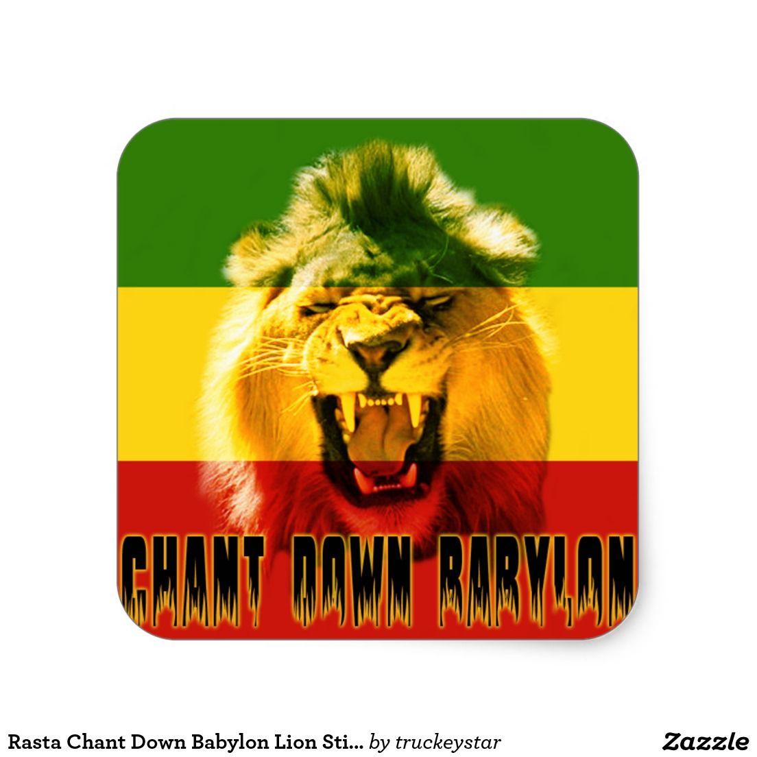 Rasta chant down babylon lion sticker zazzle com rasta