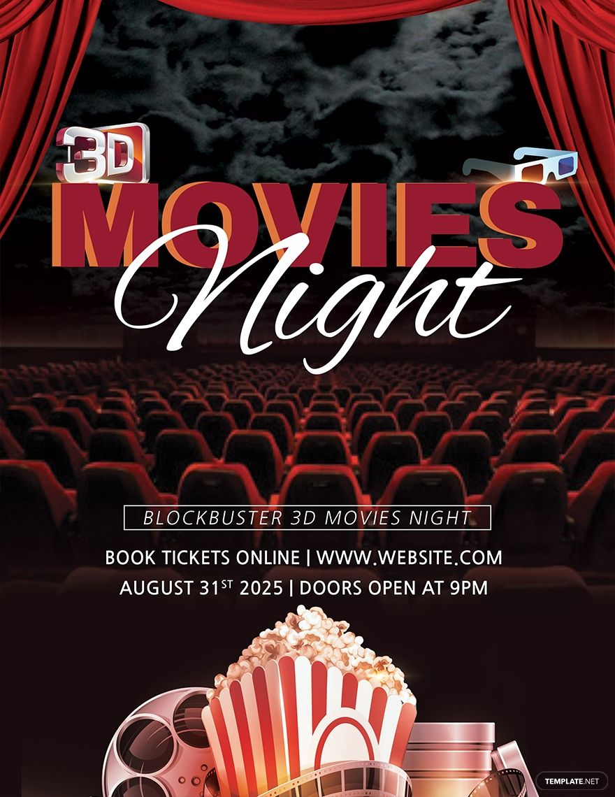 Free 3d Movies Night Flyer Template Ad Ad Movies Free Night Template Flyer Movie Night Flyer Flyer Template Flyer Movie night flyer template free