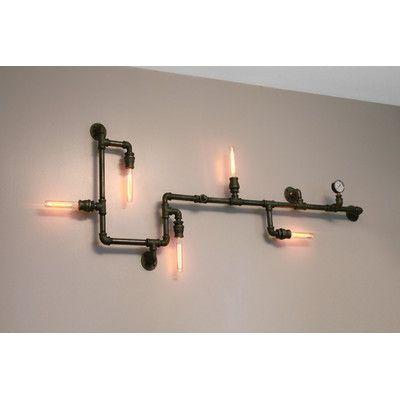 industrial pipe lighting. West Ninth Vintage Steampunk 5-Light Industrial Pipe Wall Light Lighting R