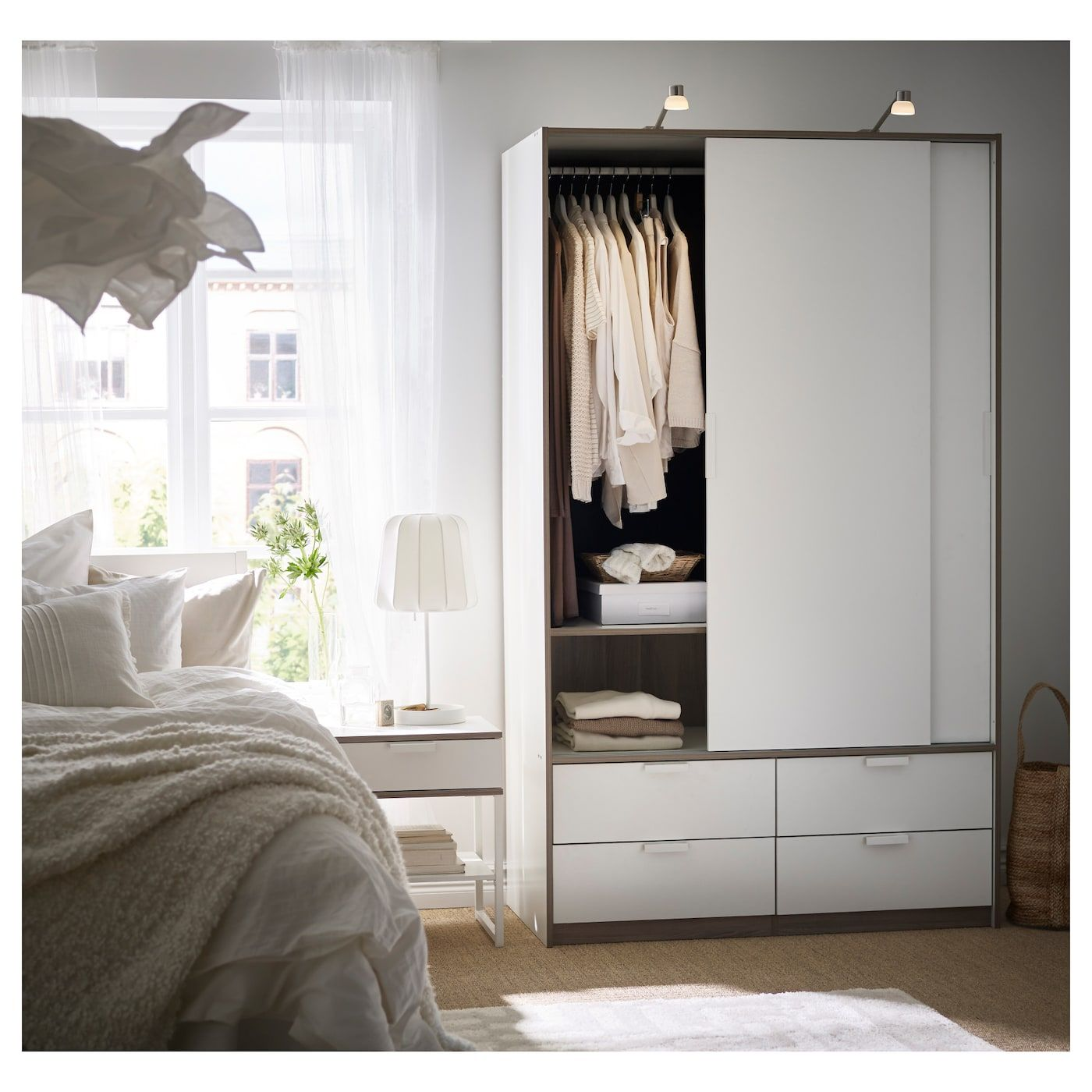 Trysil Armoire Portes Couliss 4tiroirs Blanc Ikea Ikea Armoire Ikea Mobilier De Salon
