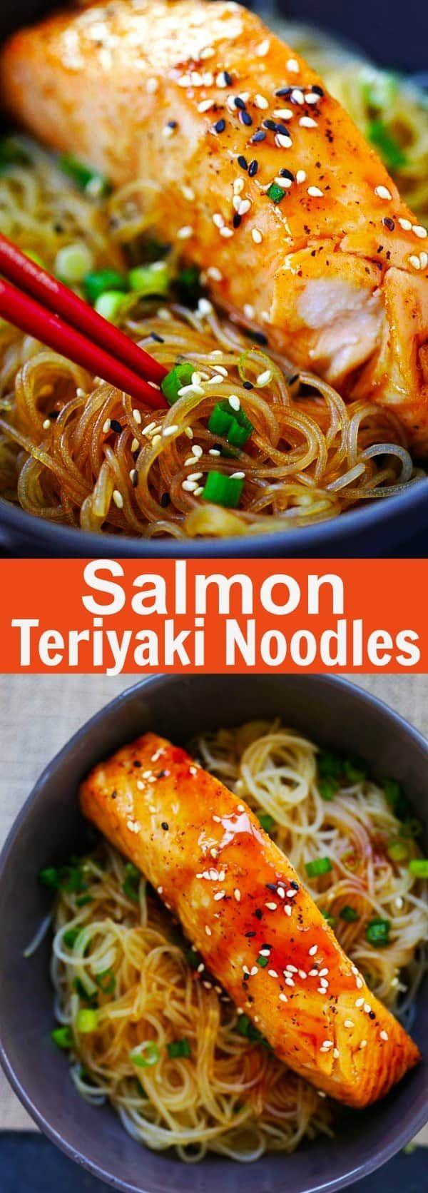 Salmon Teriyaki Noodles - Rasa Malaysia #teriyakisalmon