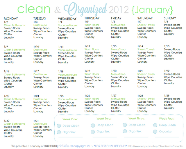 Clean and Organized for January