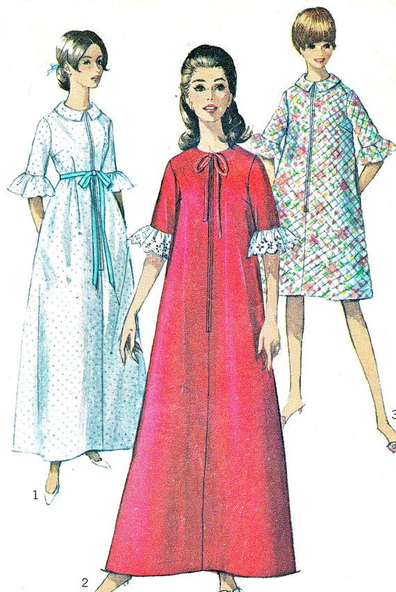 1960s Womens Robe Pattern Simplicity 6796 Long or by paneenjerez ...