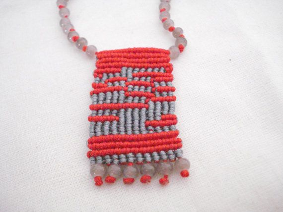 Geometric necklace, Abstract pattern necklace, Micromacrame necklace, Red-grey rosary jewelry, Boho necklace, OOAK necklace, Gypsy jewelry. #rosaryjewelry
