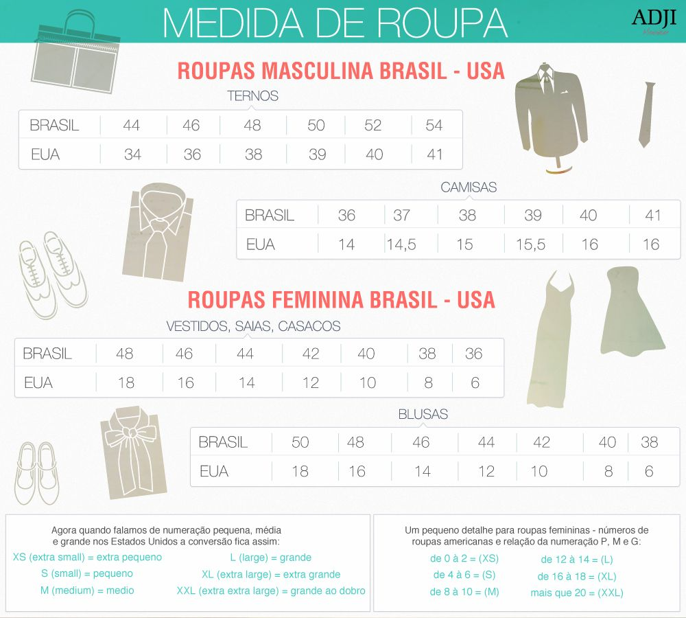 Medida de roupa - Brasil/EUA