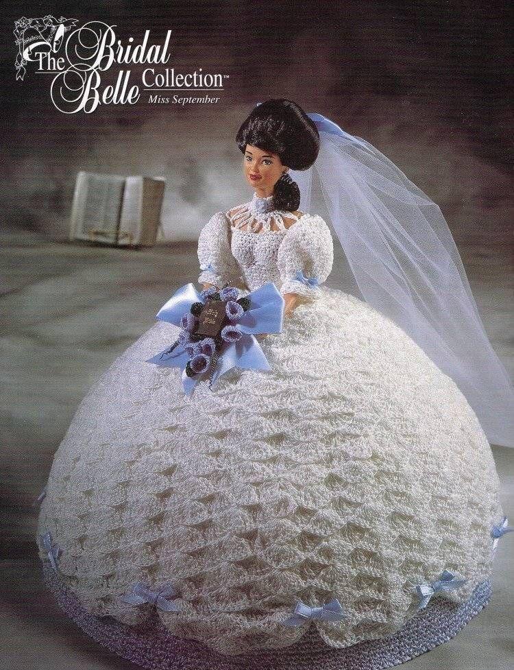 September Bridal Bell Calendar Bed Doll Crochet Pattern Book Annies ...