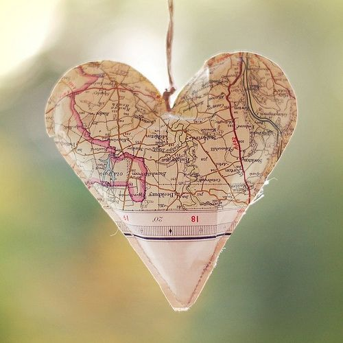 LOVE THIS! Make a map heart ornament from where your sponsored children live