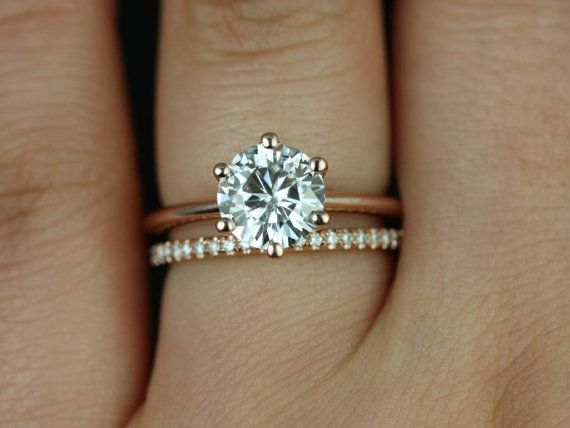 1 50ct Round Forever One Moissanite Thin 6 Prong Wedding Set Rings Rings 14kt Solid Rose Gold Skinny Webster 7 5mm Kimberly Rosados Box Diamond Wedding Bands Engagement Wedding Rings