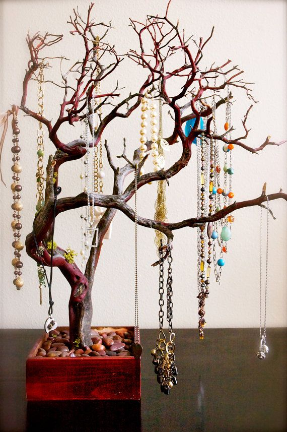 Creative jewelry storage solutions Jewelry tree Red jewelry and