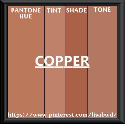 Pantone Copper Brown Pantone Seasonal Color Swatch Copper 67i Sienna Copperⁿtarnish Pantone Pantone Palette Copper And Pink