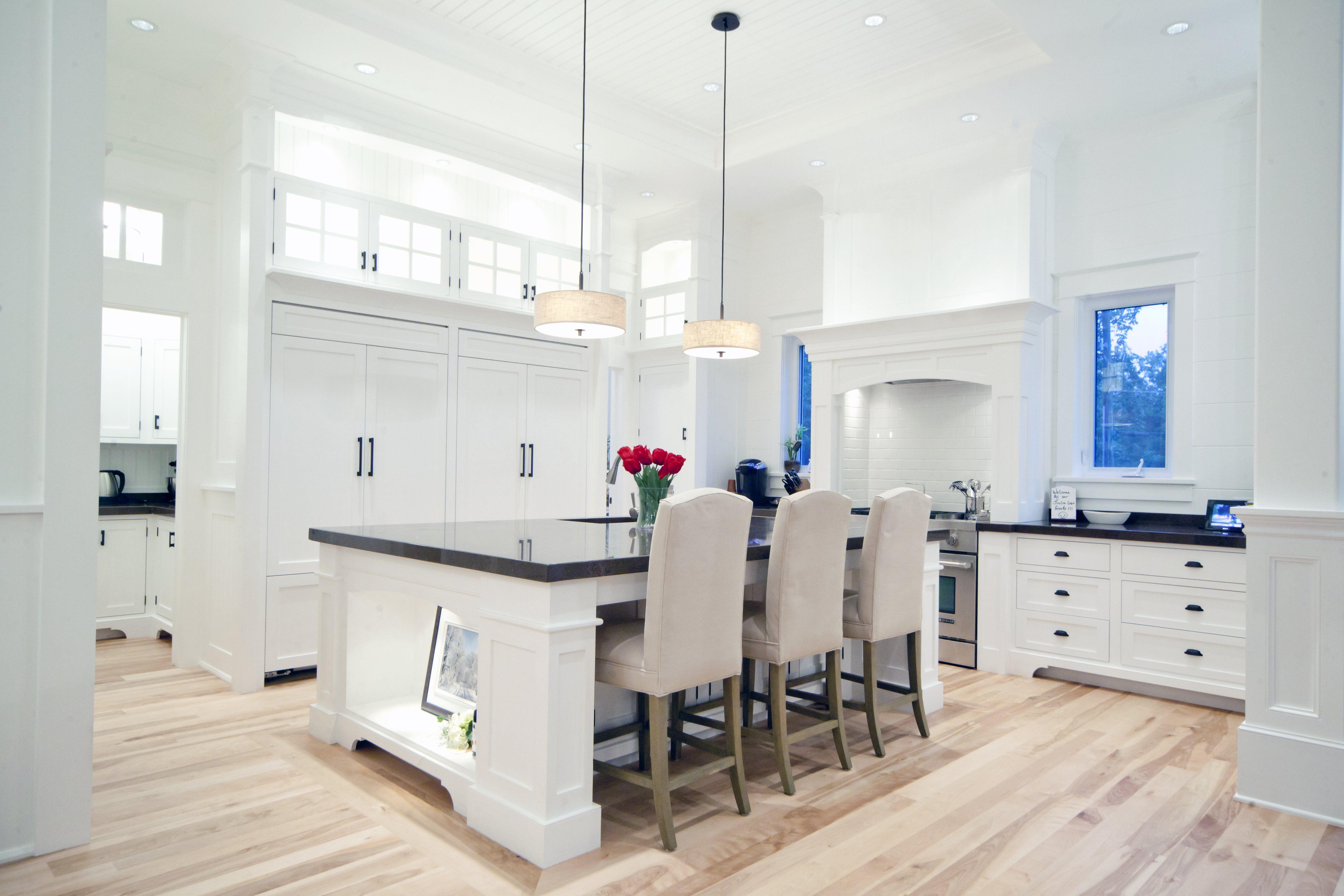 Natural Birch Floor- Hardwood Flooring- White Kitchen- Logs ...