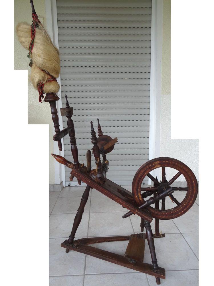 Altes Frankisches Spinnrad Aus Holz Ca Vor 1900 Mit