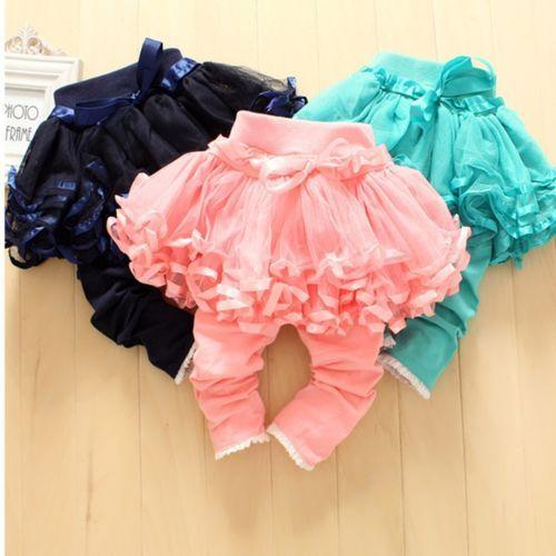 Girls-Skirt-pants-Cake-Skirt-Delicate-Satin-Edging-Net-Veil-Pants-Kids-Leggings