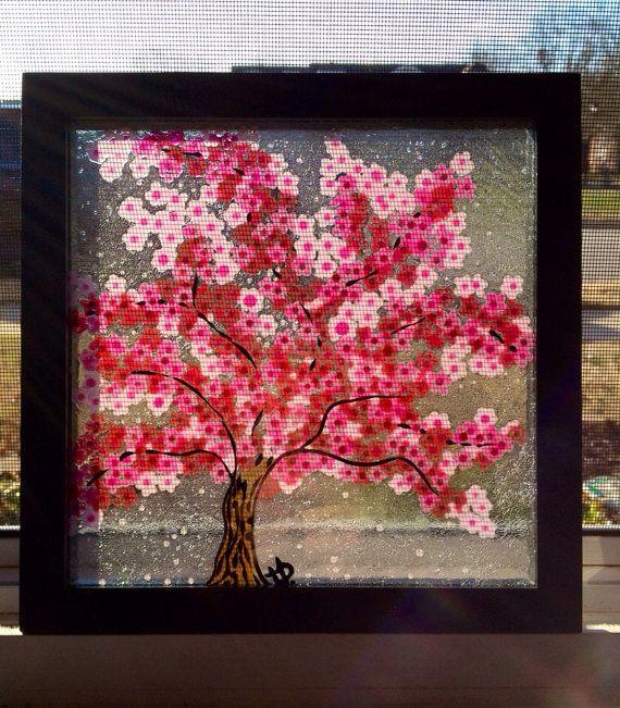 Cherry Blossom Tree Original Glass Painting On Etsy 35 00 Cherry Blossom Tree Painting Projects Painting