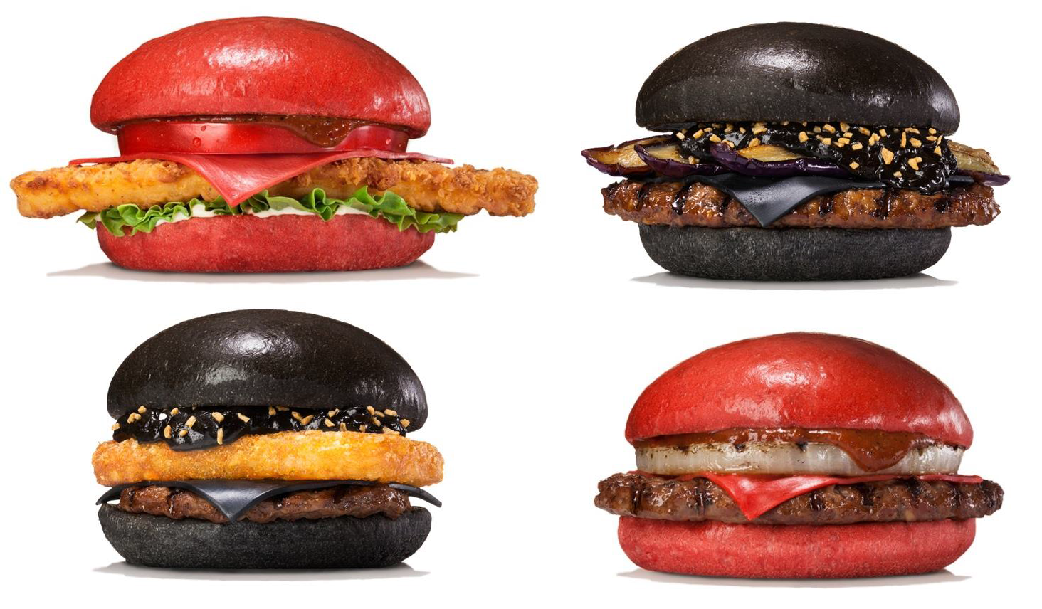 Red Is The New Black Burger As Burger King Rolls Out Sandwiches With Crimson Buns And Cheese Black Burger Red Burger Burger