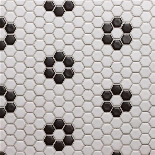 Glazed Porcelain 1 Inch Hexagon White With Black Rose Pattern Hexagonal Mosaic Black Bathroom Tile Floor
