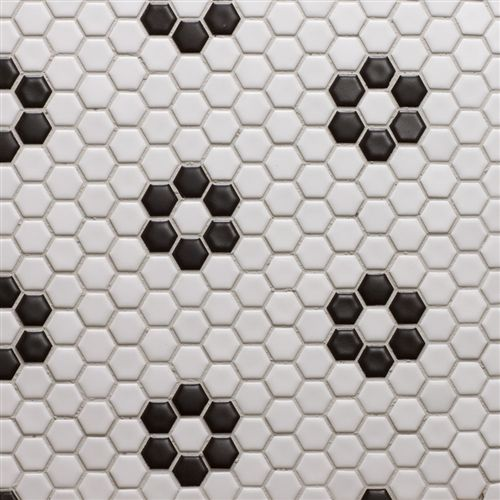 7 99 Sf Glazed Porcelain 1 Inch Hexagon White With Black Rose Pattern Hexagonal Mosaic Black Bathroom Black And White Tiles