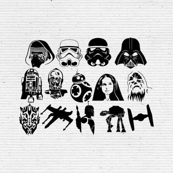 47b936b2 Star Wars Silhouette and Elements, SVG Cutting File, Printable, T-shirt  Design, Scrapbooking Clipar