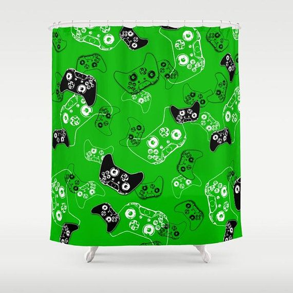Wedding Gifts For Nerds: Gamer Shower Curtain, Video Game Decor, Gamer Room Bath