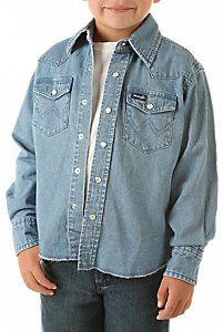 Wrangler® Boy's Long Sleeve Denim Western Shirt..Jeremy could be like his Paw Paw