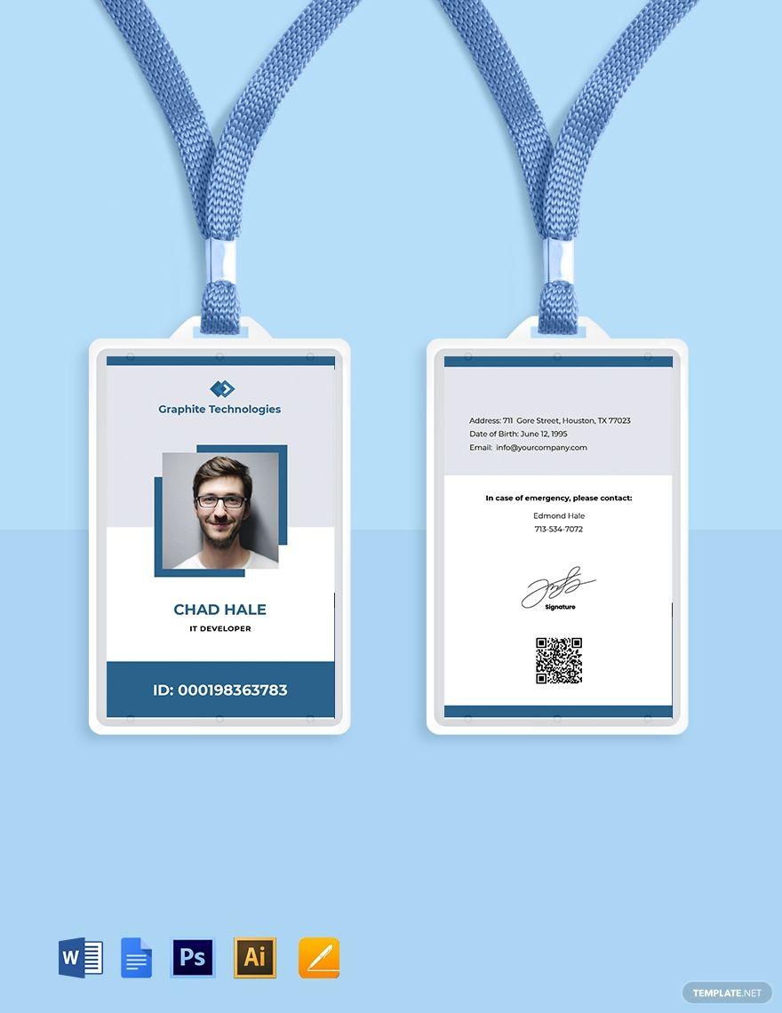 Free Simple It Id Card Template Word Doc Psd Apple Mac Pages Google Docs Illustrator Id Card Template Card Template Templates