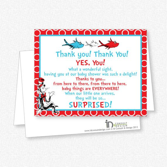 Dr Seuss Baby Shower  Thank You Note Card  Printable  On