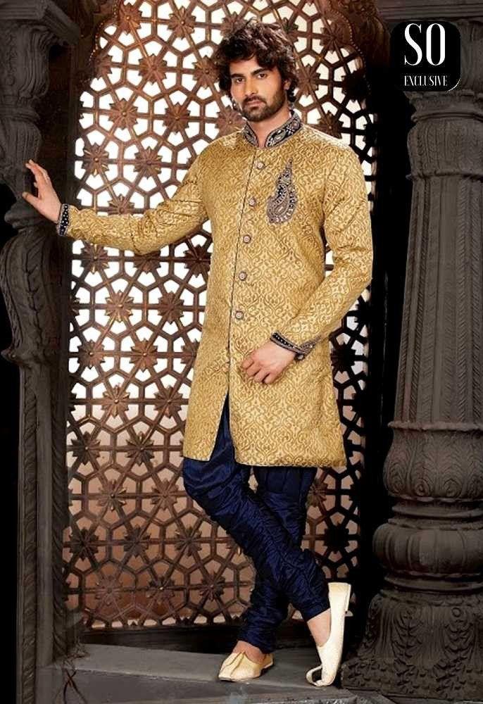 Ameer Bleu Indiens Indien Homme Et Doré Marine Vêtements Sherwani HBzxq