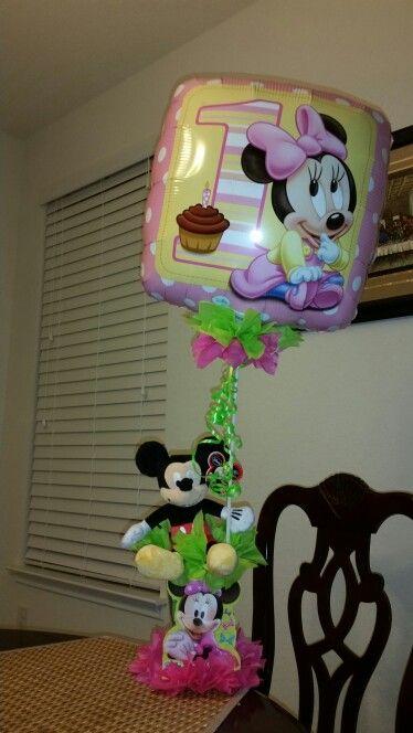 Centro de mesa con globo Decoracion e Ideas Minnie Mouse
