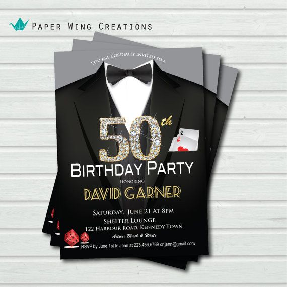 50th Birthday Dinner Party Ideas Part - 50: Man Golden 50th Birthday Invitation. Black Tie Gala Dinner. Casino Royale,  Las Vegas