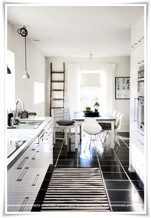 justthedesign:    Classic Black And White Kitchen By Anna Malin
