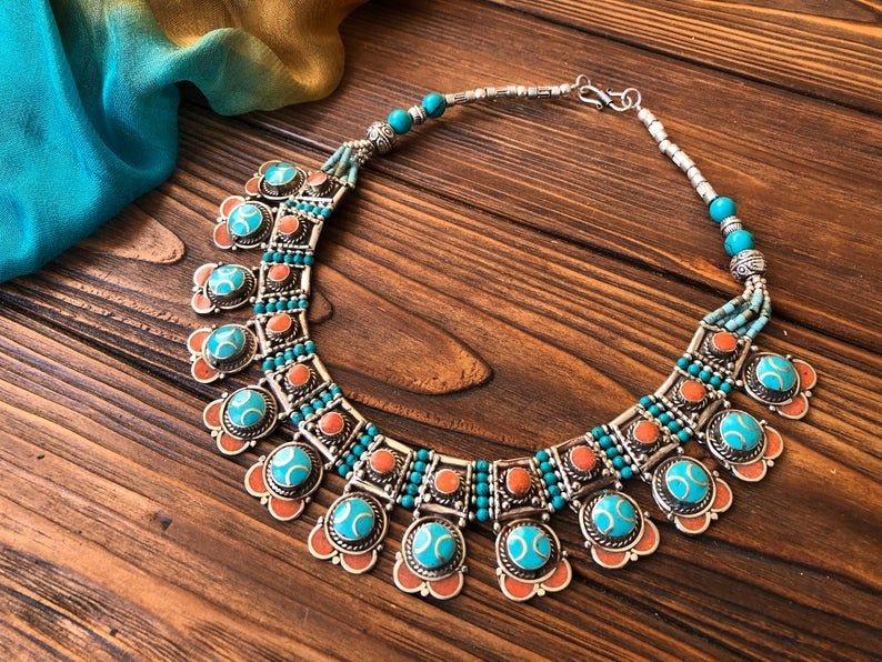 Vintage coral Tibetan Tribal Jewelry Nepalese lapis lazuli Bracelet Gypsy bohemian bracelet nomadic mexico ethnic Greece jewelry