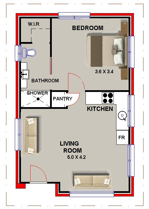 5 6 X 8 7 47 Sqm Retreat Home Office Granny Flat Plans Granny Pods Floor Plans Home Design Floor Plans