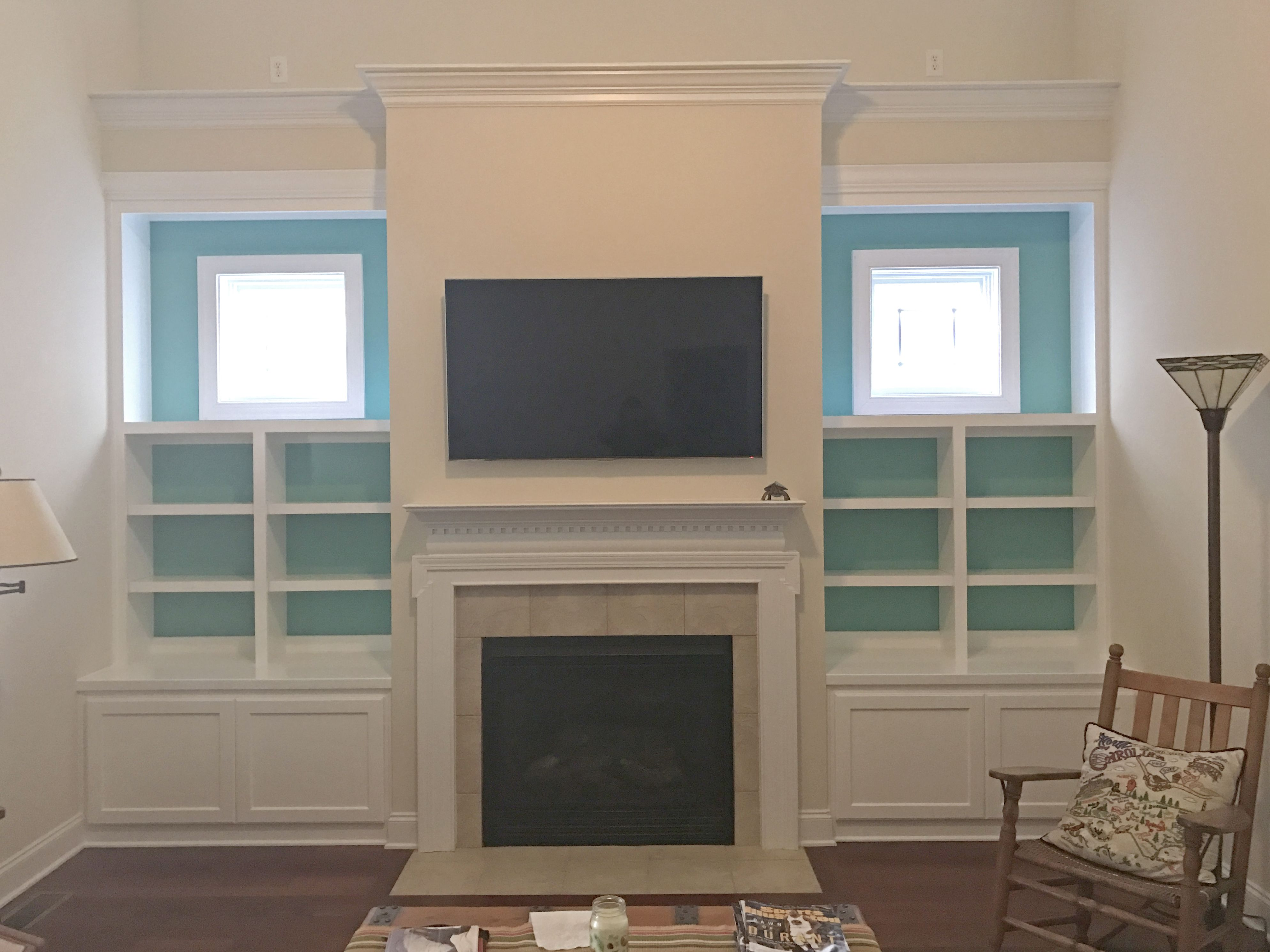 Custom Living Room Built Ins With Shaker Style Cabinet Doors