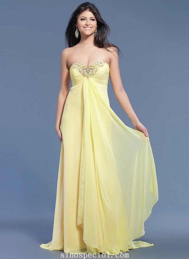 Elegant Daffodil A-line Empire Waist Floor Length Chiffon Prom Dress