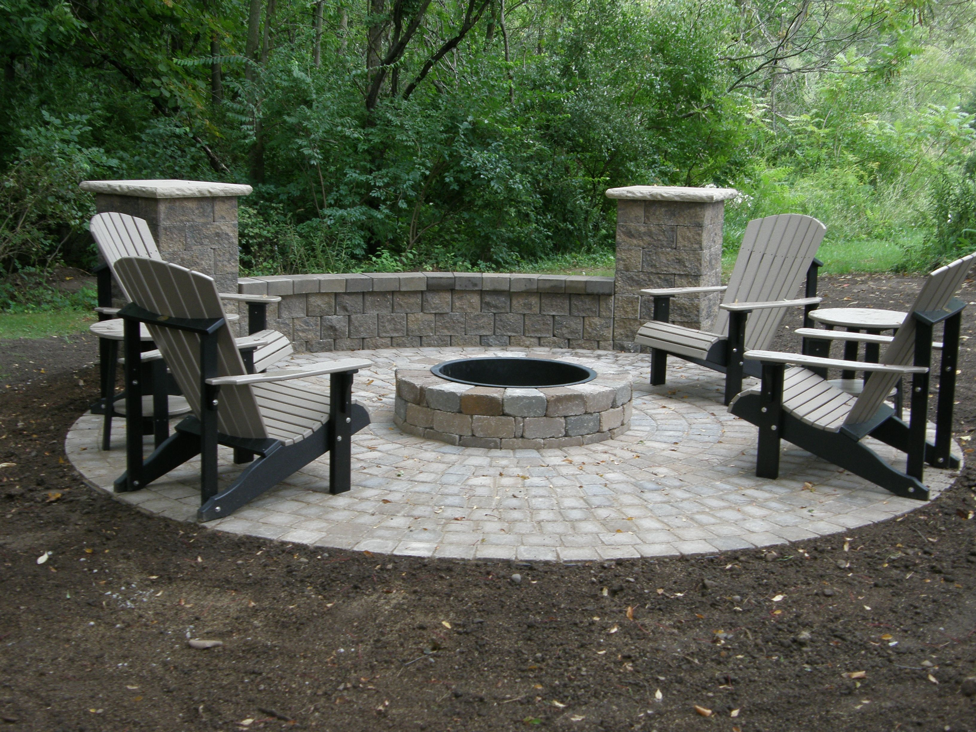Inspiration Gray Stained Adarondack Chairs And Bench Around Our Fire Pit