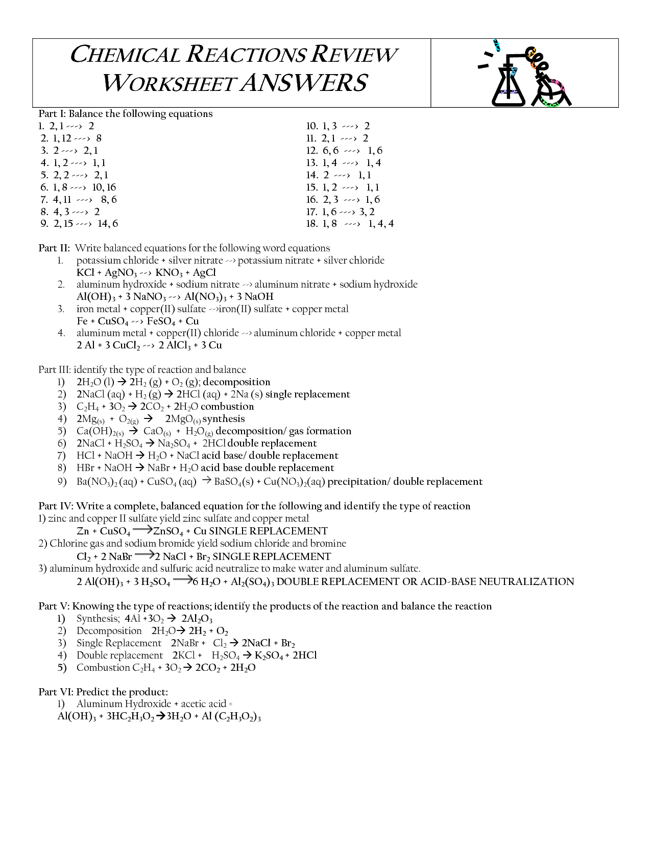 16 Best Images of Types Chemical Reactions Worksheets ...
