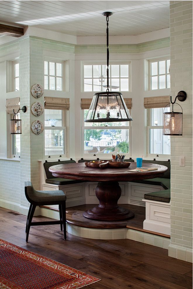Breakfast Nook Custom Elevated With Built In Bench Floor To Ceiling Wall Tiles And Wide Plank Floors