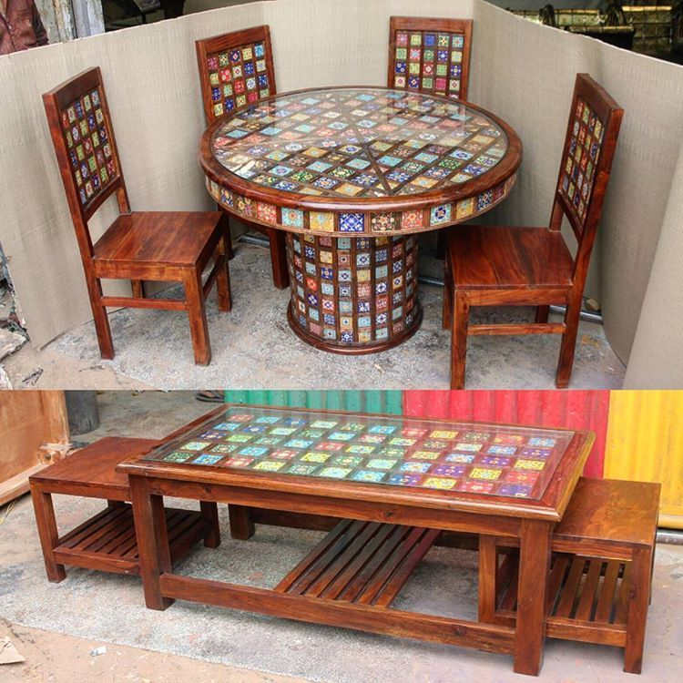 Ceramic Tile Fitted Indian Wooden Furniture Ceramic Tile Fitted Wooden Dining Set And Coffee Table Riseonly Wooden Dining Set Handmade Furniture Furniture