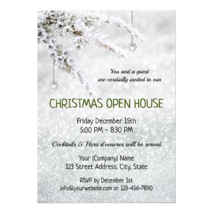 Sparkling Snow Christmas Company Open House Invite - simple clear