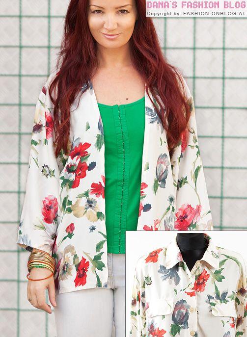 DIY Tutorial: Kimono-Jacke aus einer alten Bluse machen | Fashion ...